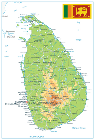Sri Lanka Physical Map Isolated on White - High detail map of Sri Lanka - Vector illustration.