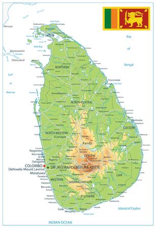 Sri Lanka Physical Map Isolated on White - High detail map of Sri Lanka - Vector illustration.
