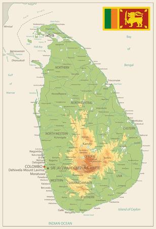 Sri Lanka Physical Map Retro Colors - High detail map of Sri Lanka Retro Colors- Vector illustration. Illustration