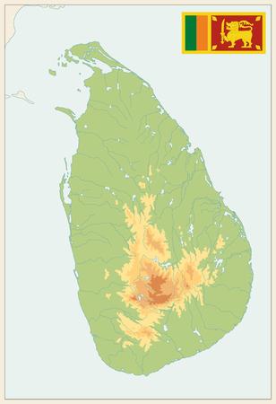 Sri Lanka Physical Map Vintage Colors. No text - High detail map of Sri Lanka Vintage Colors- Vector illustration.