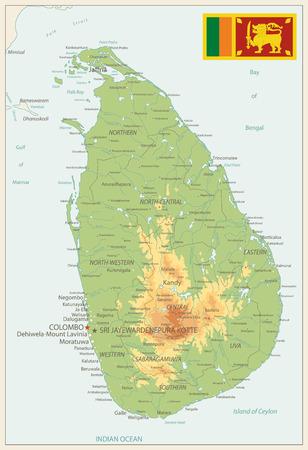 Sri Lanka Physical Map Vintage Colors - High detail map of Sri Lanka Vintage Colors- Vector illustration. Illustration