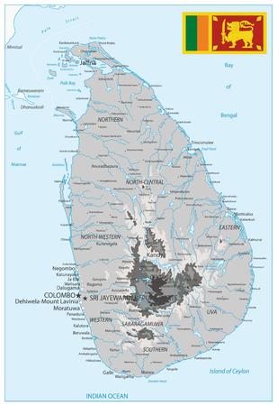 Sri Lanka Physical Map White and Grey - High detail map of Sri Lanka - Vector illustration. Illustration