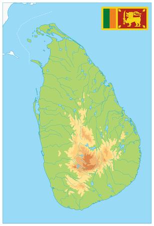 Sri Lanka Physical Map. No text - High detail map of Sri Lanka - Vector illustration.