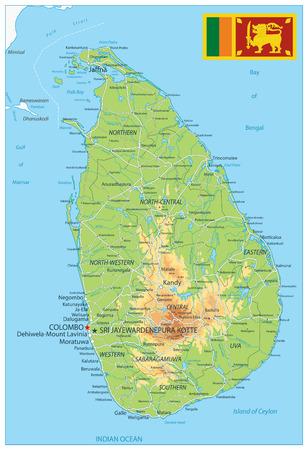 Sri Lanka Physical Map - High detail map of Sri Lanka - Vector illustration. Illustration