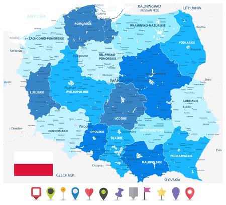 Colori blu della mappa amministrativa della Polonia e icone piatte della mappa - mappa dettagliata dell'illustrazione vettoriale della Polonia - tutti gli elementi sono separati in strati modificabili chiaramente etichettati.