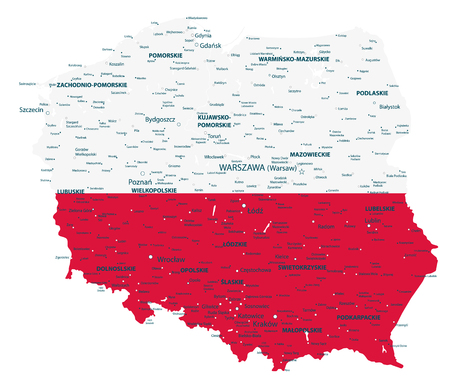 Poland highly detailed map with national flag isolated on white background - Detailed map of Poland vector illustration. Illustration