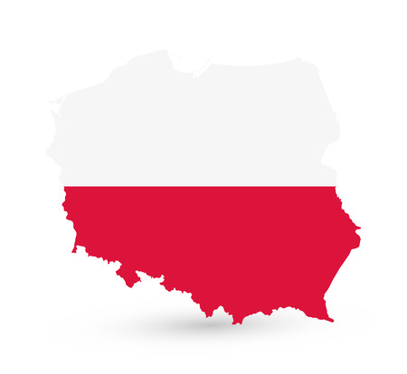 Abstract map of Poland coloured by national flag isolated on white - Detailed map of Poland vector illustration.