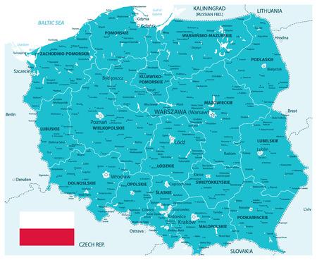Poland Map Aqua Colors - Detailed map of Poland vector illustration.