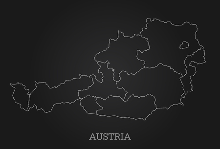 Abstract line map of Austria on dark background - Vector Illustration - All elements are separated in editable layers clearly labeled.