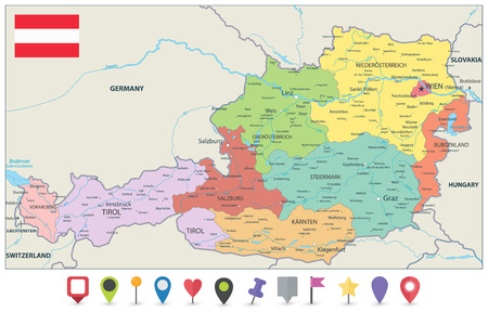 Austria Administrative Map and Flat Map Icons - Detailed map of Austria vector illustration - All elements are separated in editable layers clearly labeled.
