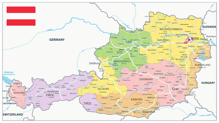 Austria Administrative Map and Roads - Detailed map of Austria vector illustration - All elements are separated in editable layers clearly labeled.