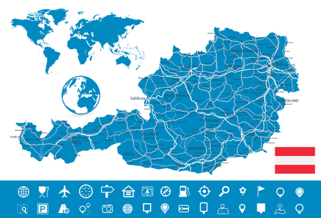 Austria Map and Map Navigation Set - Detailed map of Austria vector illustration - All elements are separated in editable layers clearly labeled.