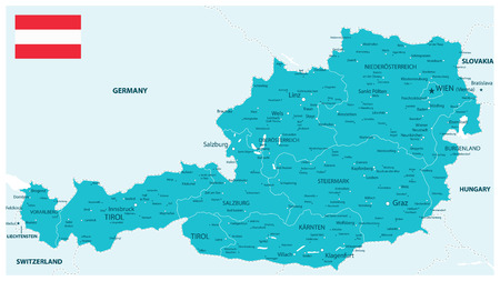 Austria Map Aqua Colors - Detailed map of Austria vector illustration - All elements are separated in editable layers clearly labeled. 向量圖像