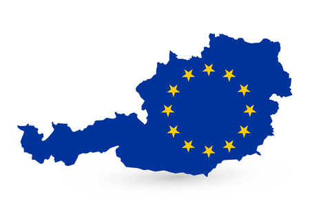 Austria Map Coloured By EU Flag - Detailed map of Austria vector illustration - All elements are separated in editable layers clearly labeled. Illustration