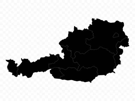 Austria Map on Transparent background. Highly detailed vector illustration of map.