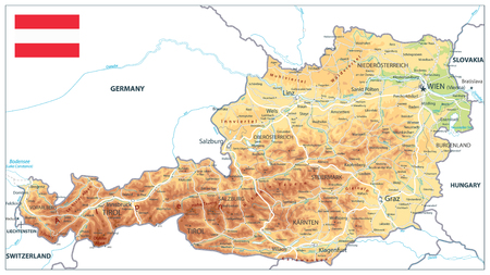 Austria Physical Map Isolated On White - Detailed map of Austria vector illustration - All elements are separated in editable layers clearly labeled.