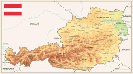 Österreich Physical Map Vintage Colors - Detaillierte Karte der Österreich-Vektorillustration - Alle Elemente sind in bearbeitbaren Ebenen getrennt, die deutlich beschriftet sind.