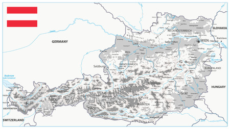 Austria Physical Map White and Grey - Detailed map of Austria vector illustration - All elements are separated in editable layers clearly labeled. Illustration