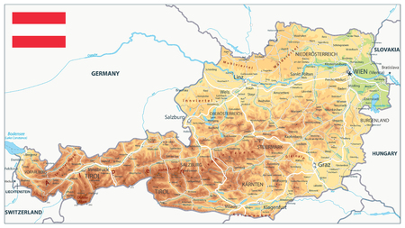 Austria Physical Map - Detailed map of Austria vector illustration - All elements are separated in editable layers clearly labeled. Illustration