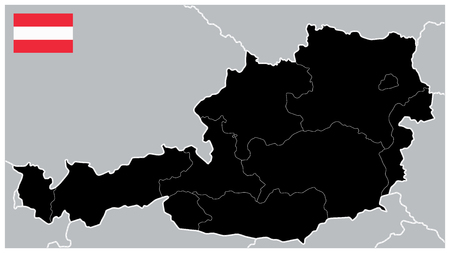 Black Map of Austria. No text - Detailed map of Austria vector illustration - All elements are separated in editable layers clearly labeled.
