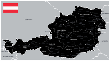 Black Map of Austria - Detailed map of Austria vector illustration - All elements are separated in editable layers clearly labeled.