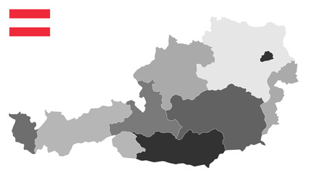 Map of Austria  - Detailed map of Austria vector illustration - All elements are separated in editable layers clearly labeled.