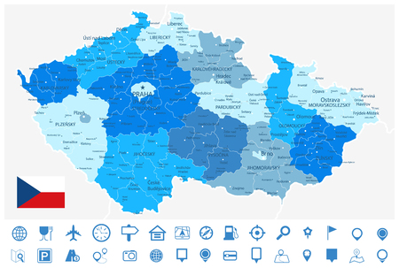 Czech Republic Blue Map and Navigation Icons - Detailed map of Czech Republic vector illustration - All elements are separated in editable layers clearly labeled.