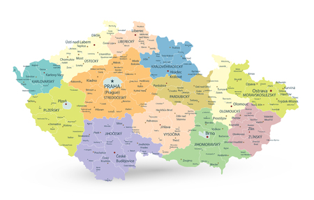 Czech Republic Administrative Map Isolated on White - Detailed map of Czech Republic vector illustration - All elements are separated in editable layers clearly labeled. Vektoros illusztráció