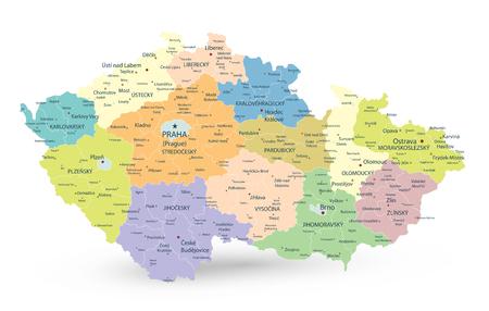 Mapa administrativo de la República Checa aislado en blanco - Mapa detallado de la ilustración vectorial de la República Checa - Todos los elementos están separados en capas editables claramente etiquetadas. Ilustración de vector