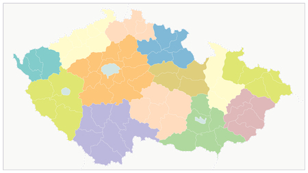 Czech Republic Administrative Map. No text - Detailed map of Czech Republic vector illustration - All elements are separated in editable layers clearly labeled. Ilustrace