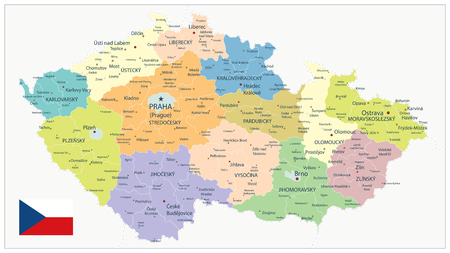 Czech Republic Administrative Map - Detailed map of Czech Republic vector illustration - All elements are separated in editable layers clearly labeled.