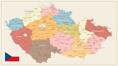 Czech Republic Political Map Vintage Colors - Detailed map of Czech Republic vector illustration - All elements are separated in editable layers clearly labeled.