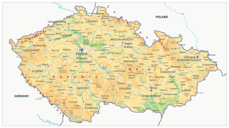 Czech Republic Physical Map - Detailed map of Czech Republic vector illustration - All elements are separated in editable layers clearly labeled.