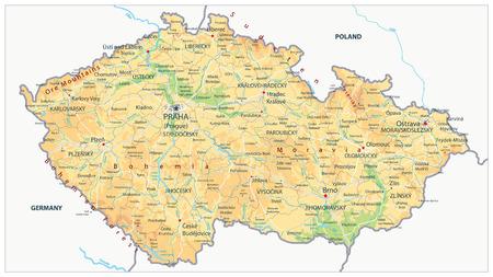 Physikalische Karte der Tschechischen Republik - Detaillierte Karte der Vektorillustration der Tschechischen Republik - Alle Elemente sind in bearbeitbaren Ebenen getrennt, die deutlich beschriftet sind.