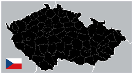 Black Map of Czech Republic. No text - Detailed map of Czech Republic vector illustration - All elements are separated in editable layers clearly labeled.