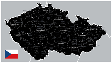 Black Map of Czech Republic - Detailed map of Czech Republic vector illustration - All elements are separated in editable layers clearly labeled.