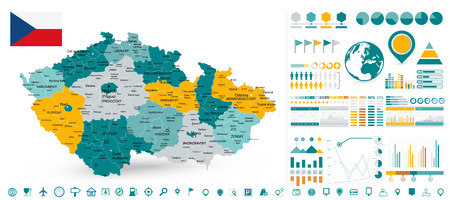 Czech Republic Map and Infographics design elements - Business template in flat style for presentation, booklet, website and other creative projects. Illustration