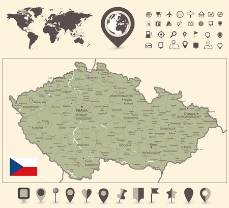 Czech Republic Map and World Map with navigation icon - Detailed map of Czech Republic vector illustration - All elements are separated in editable layers clearly labeled.