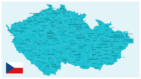 Czech Republic Map Aqua Color - Detailed map of Czech Republic vector illustration - All elements are separated in editable layers clearly labeled.