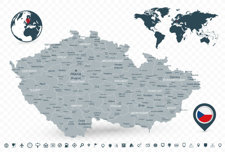 Czech Republic Map and World Map isolated on transparent background. Highly detailed vector illustration of map. Illustration