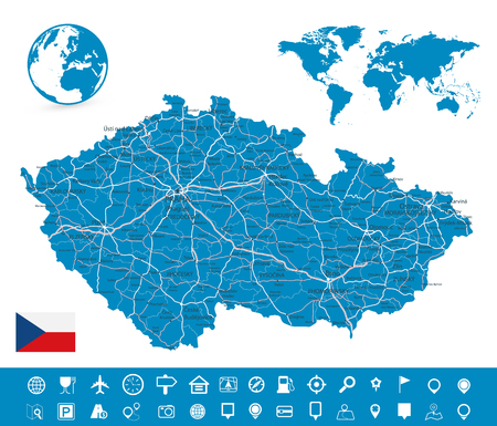 Czech Republic Map and Map Navigation Set - Detailed map of Czech Republic vector illustration - All elements are separated in editable layers clearly labeled.