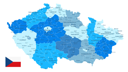 Czech Republic Blue Map Isolated on White - Detailed map of Czech Republic vector illustration - All elements are separated in editable layers clearly labeled.