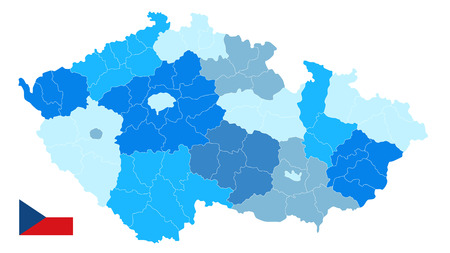 Czech Republic Blue Map Isolated on White. No text - Detailed map of Czech Republic vector illustration - All elements are separated in editable layers clearly labeled.
