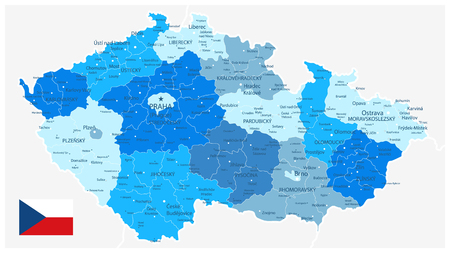 Czech Republic Blue Map - Detailed map of Czech Republic vector illustration - All elements are separated in editable layers clearly labeled.