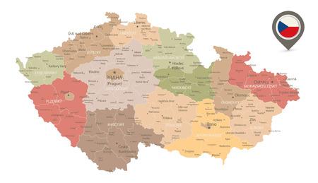 Tschechische Republik-Karte Retro-Farben isoliert auf weiss - Detaillierte Karte der Tschechischen Republik-Vektor-Illustration - Alle Elemente sind in bearbeitbaren Ebenen klar beschriftet getrennt. Vektorgrafik
