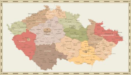 Politische Karte der Tschechischen Republik Retro-Farben - Detaillierte Karte der Vektorillustration der Tschechischen Republik - Alle Elemente sind in bearbeitbaren Ebenen getrennt, die klar beschriftet sind.