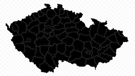 Czech Republic Map On Transparent Background - Detailed map of Czech Republic vector illustration - All elements are separated in editable layers clearly labeled.