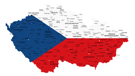 Czech Republic Map Coloured By National Flag Isolated on White - Detailed map of Czech Republic vector illustration - All elements are separated in editable layers clearly labeled. Illusztráció