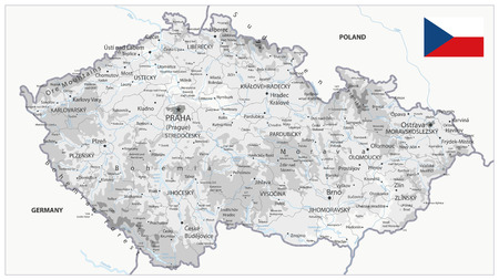 Czech Republic Physical Map White and Grey - Detailed map of Czech Republic: borders, countries and citiesvector illustration - All elements are separated in editable layers clearly labeled.