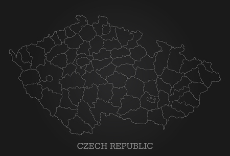 Abstract line map of Czech Republic on dark background - Vector Illustration - All elements are separated in editable layers clearly labeled. Ilustrace